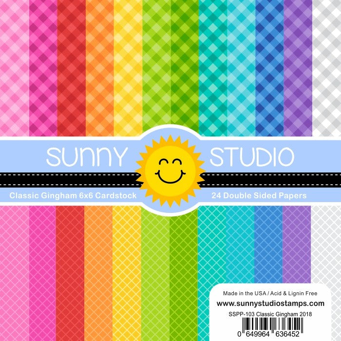 Sunny Studio Stamps Classic Gingham 6x6 Patterned Paper Pack