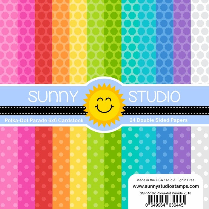 Sunny Studio Stamps Polka-dot Parade 6x6 Patterned Paper Pack