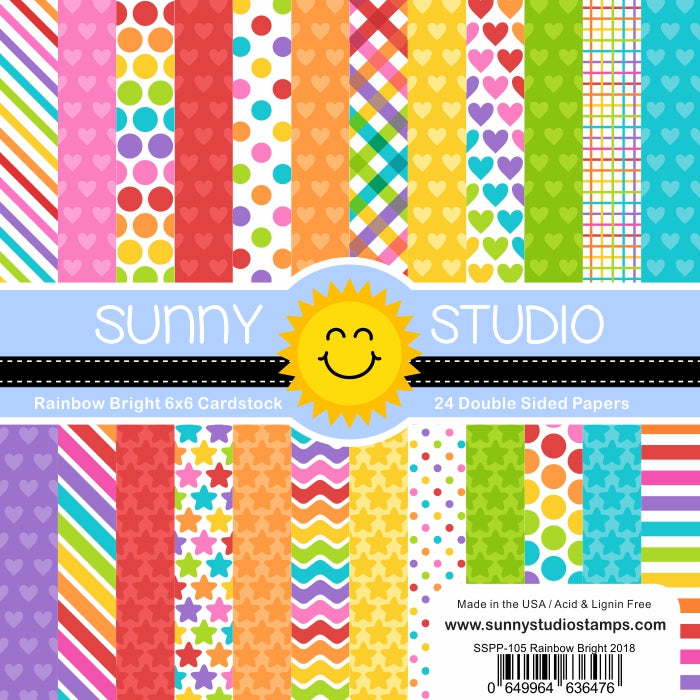 Sunny Studio Stamps Rainbow Bright 6x6 Hearts, Stars, Stripes & Polka-Dot Patterned Paper Pack