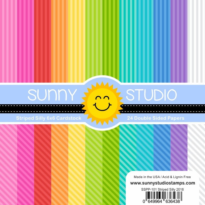 Sunny Studio Stamps Striped Silly 6x6 Rainbow Patterned Paper Pack