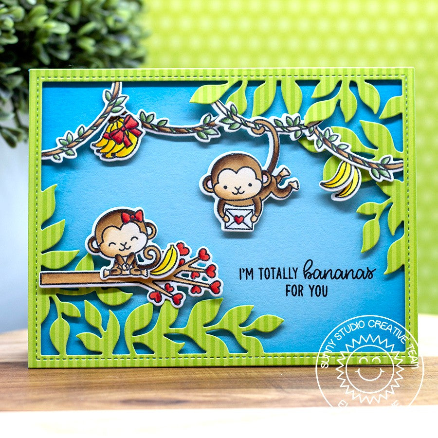 Sunny Studio Stamps Monkey Jungle Card by Eloise (using Botanical Backdrop Die)