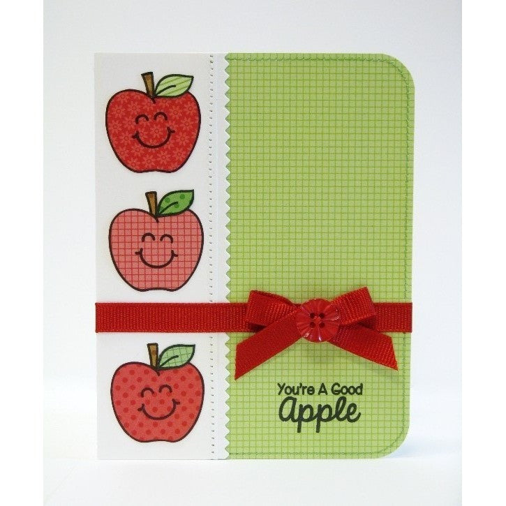 Sunny Studio Stamps You're A Good Apple Paper-pieced Handmade Card (using School Time 4x6 Clear Photopolymer Stamp Set)
