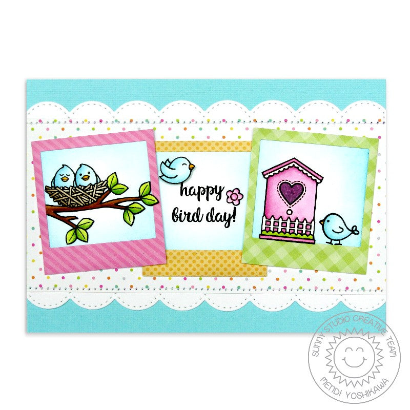 Sunny Studio Stamp Happy Bird Day Birds with Nest & Birdhouse Polaroid Style Handmade Card (using A Bird's Life 4x6 Clear Photopolymer Stamp Set)