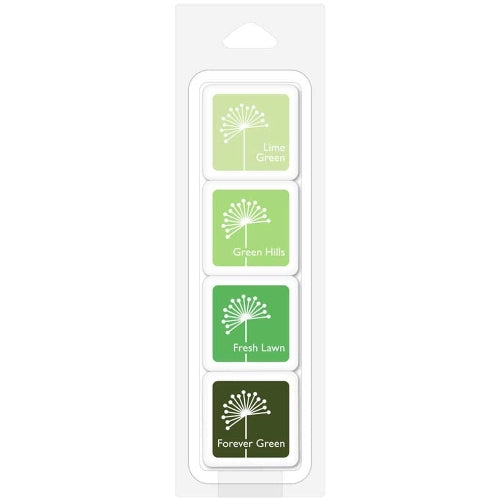"Hero Arts Fresh Foliage Dye Ink 1"" Mini Cubes - 4 Pack Mini Set with Lime Green, Green Hills, Fresh Lawn, and Forever Green"