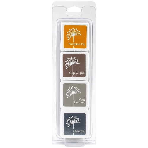 Hero Arts Morning Glory Dye Ink Cubes - 4 Pack Set with Pumpkin Pie, Cup O' Joe, Wet Cement & Charcoal