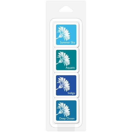 "Hero Arts Tropical Waters Ink Cubes - 4 Pack Mini 1"" Set Bold Hybrid Inks with Summer Sky, Aquatic, Indigo & Deep Ocean"