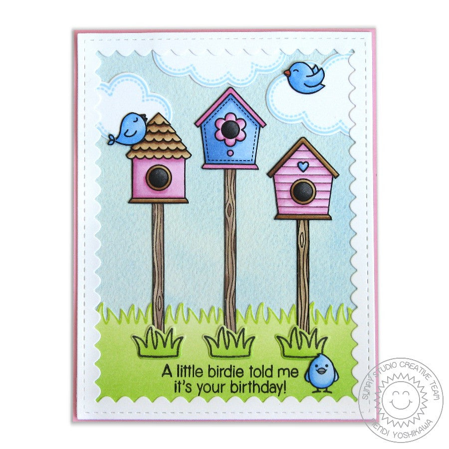Sunny Studio Stamps A Bird's Life Birdhouse Birthday Card