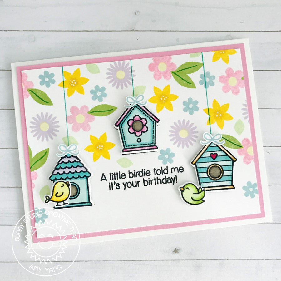 Sunny Studio Stamps A Bird's Life Hanging Birdhouse Floral Birthday Card