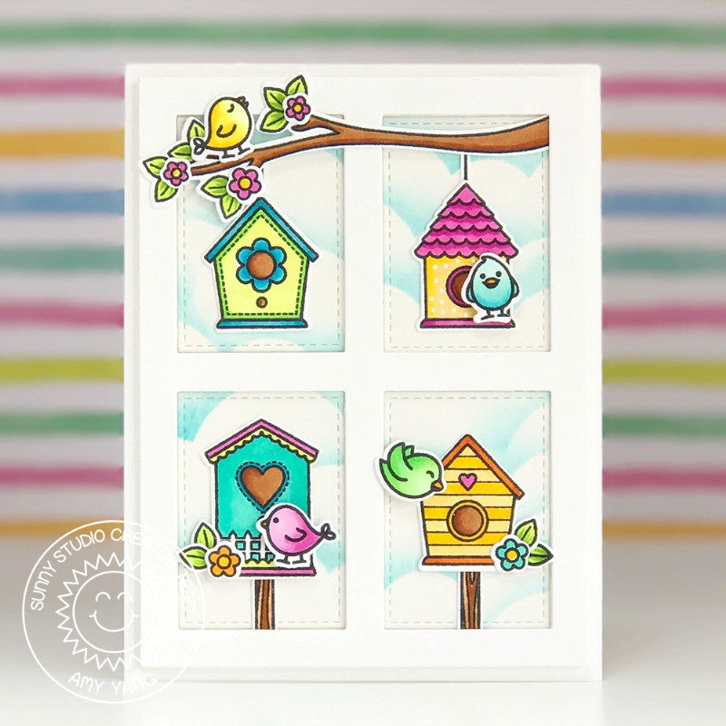 Sunny Studio Stamps A Bird's Life Grid Style Card by Amy Yang