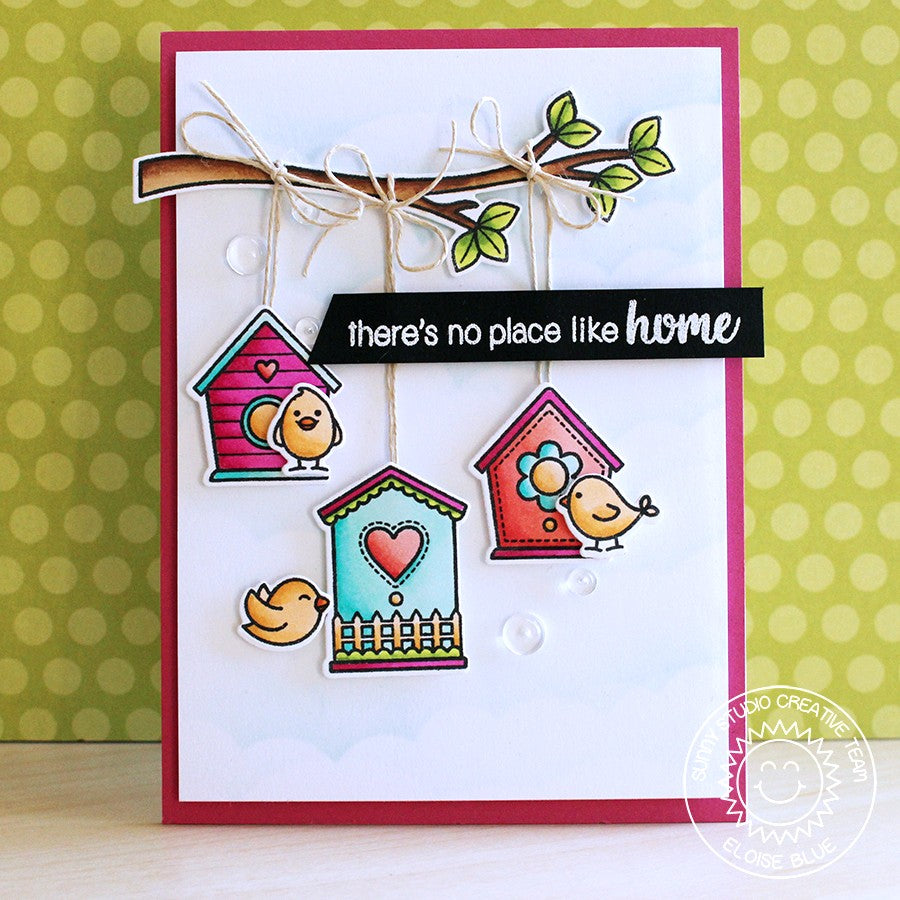 Sunny Studio Stamps A Bird's Life Birdhouse Trio on Tree Branch Card