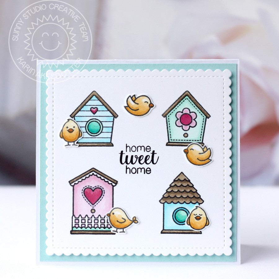 Sunny Studio Stamps A Bird's Life Home Tweet Home Birdhouse Card