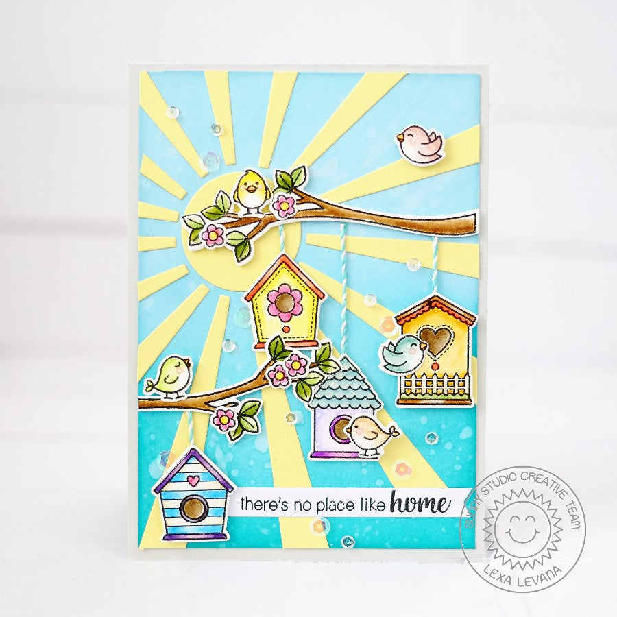 Sunny Studio Stamps A Bird's Life Sun Ray Birdhouse on Tree Branch Card