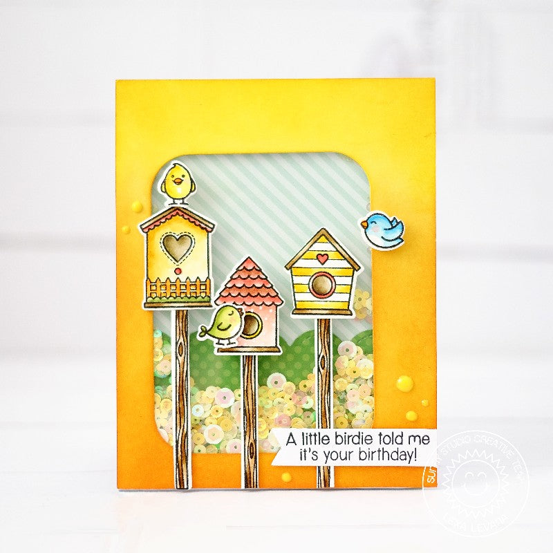 Sunny Studio Stamps A Bird's Life Birdhouse Shaker Card by Lexa