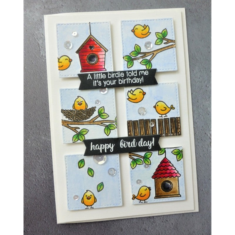 Sunny Studio Stamps A Bird's Life Birdhouse Grid Style Punny Handmade Birthday Card by Maria