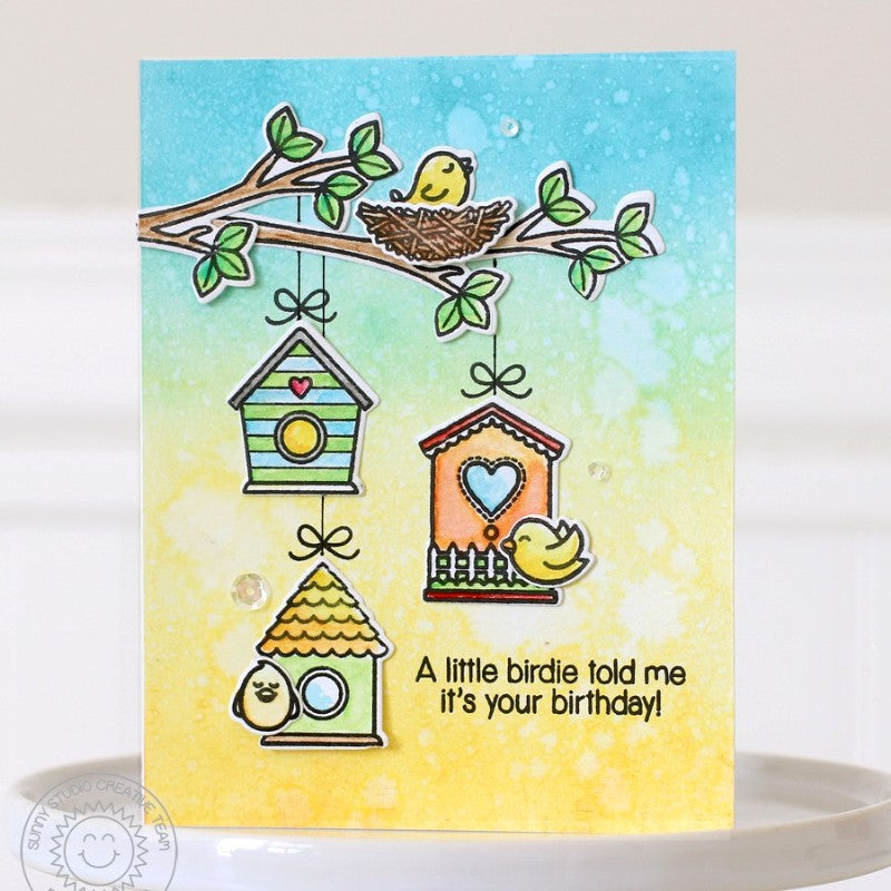 Sunny Studio Stamps A Bird's Life Teal & Yellow Birdhouse on Tree Branch Card by Nancy