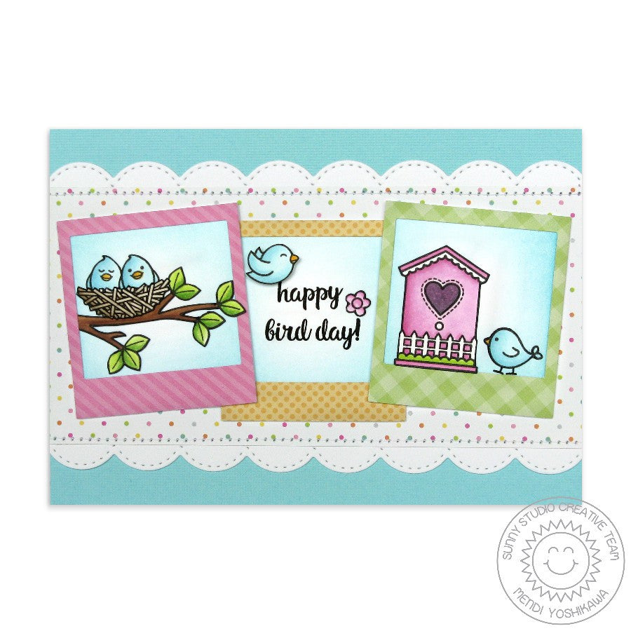 Sunny Studio Stamps Happy Bird Day Card using Stitched Scalloped Border Dies