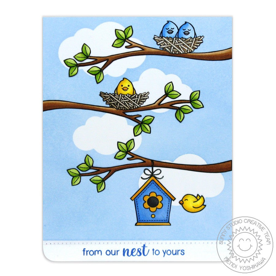 Sunny Studio Stamps A Bird's Life From Our Nest to Yours Birdhouse Card