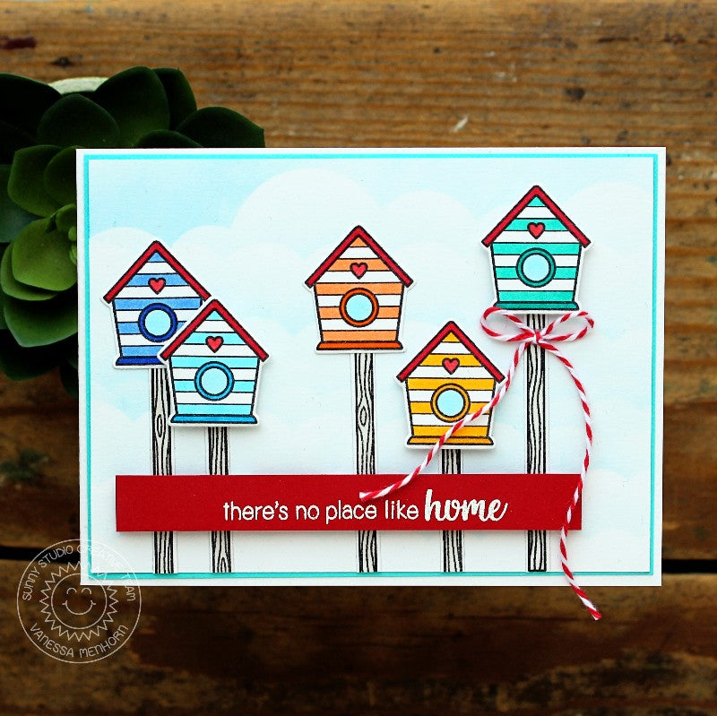 Sunny Studio Stamps A Bird's Life Beach Striped Birdhouse Home Card