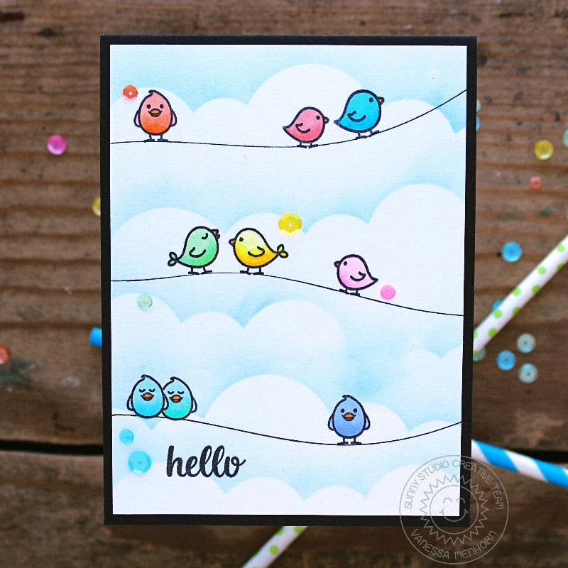 Sunny Studio Stamps A Bird's Life Birds on a Wire Hello Card