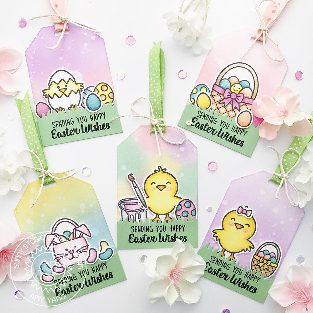 Sunny Studio Stamps A Good Egg Easter Chick & Basket Gift Tags by Amy Yang