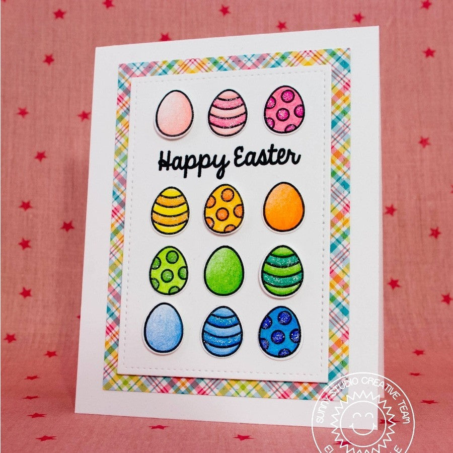 Sunny Studio Stamps A Good Egg Easter Egg Grid Style Card