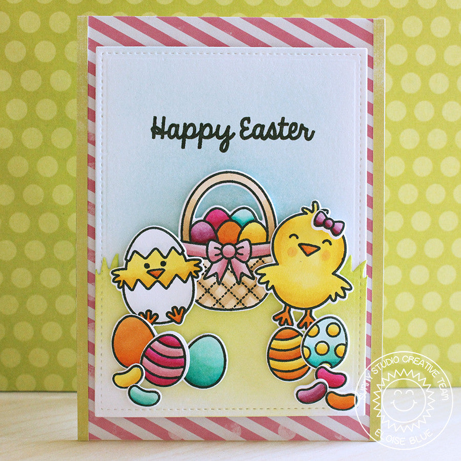 Sunny Studio Stamps Easter Eggs, Basket & Chick Card by Eloise Blue