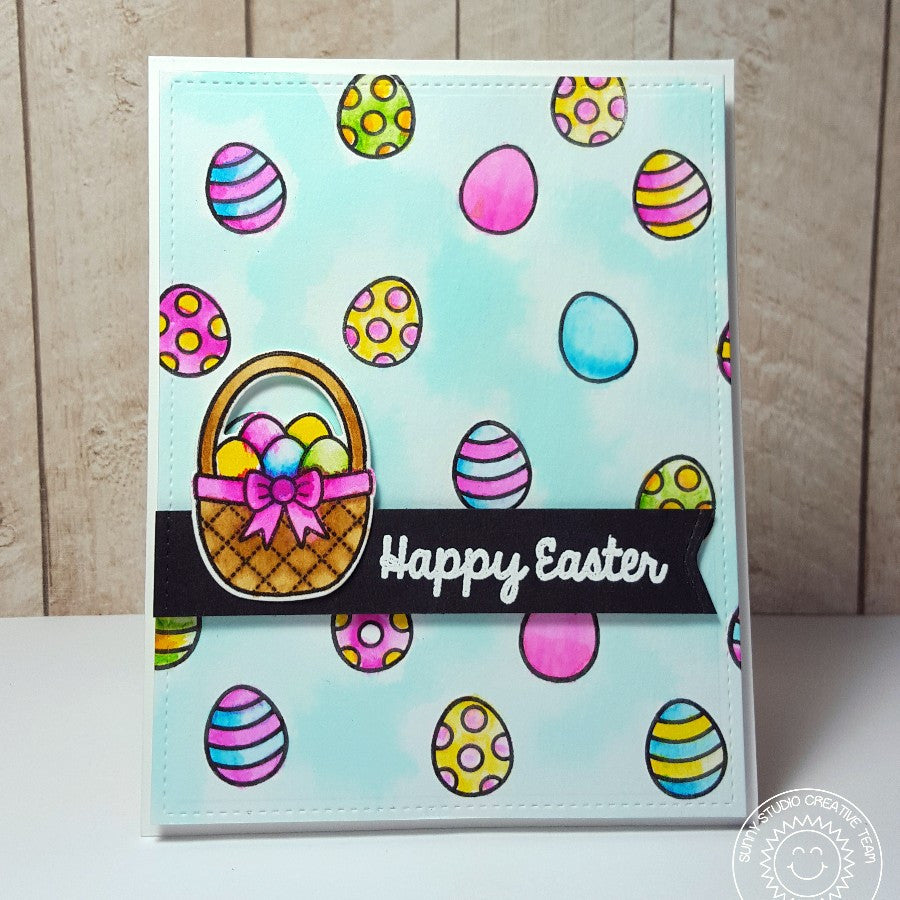 Sunny Studio Stamps A Good Egg Watercolor Easter Basket Card