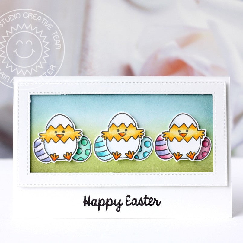 Sunny Studio Stamps Chick Trio Easter Card by Karin.