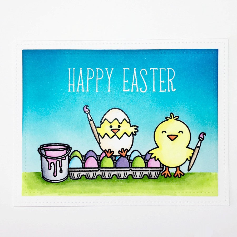 Sunny Studio Stamps A Good Egg Chick Painting Easter Eggs Card