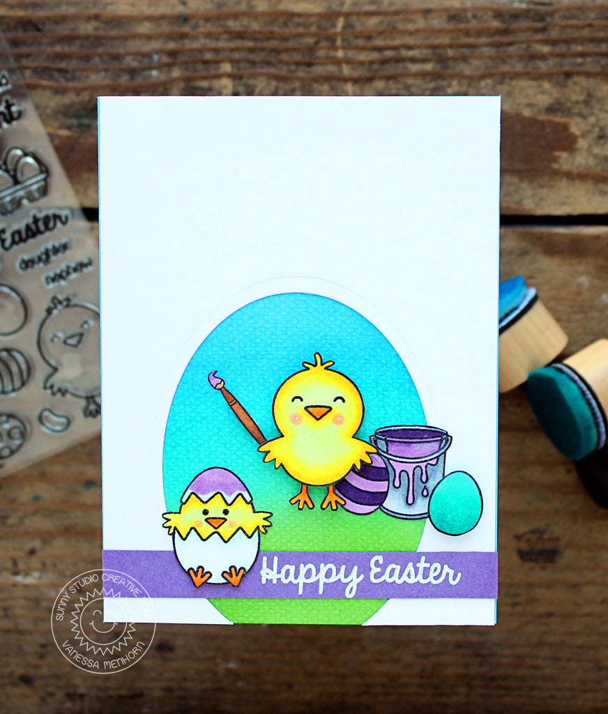 Sunny Studio Stamps Chick Painting Easter Eggs Card by Vanessa Menhorn.