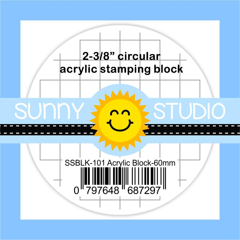 "Sunny Studio Stamps 2-3/8"" x 9/16"" Circular Round Clear Acrylic Block with 1/4"" Etched Gridlines"
