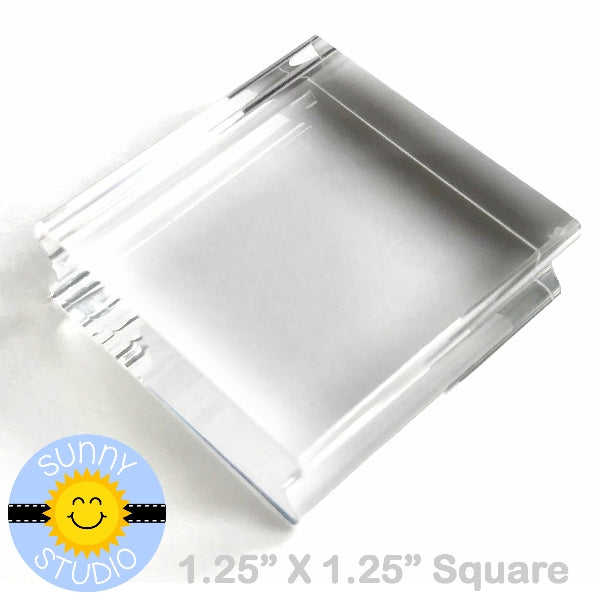 "Sunny Studio Stamps 1-1/4"" x 1-1/4"" Mini Square Acrylic Block for Clear Photopolymer Stamping"