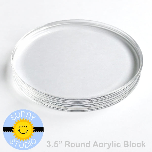 "Sunny Studio Stamps 3.5"" Round Circular Acrylic Block for Clear Photopolymer Stamping"