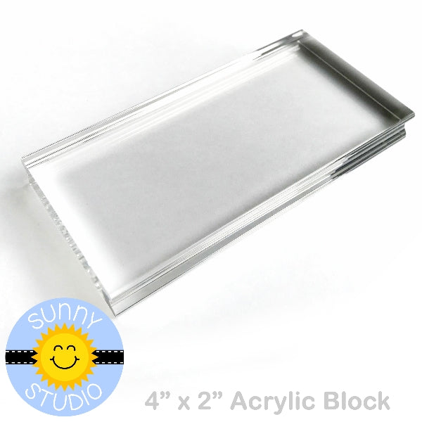 "Sunny Studio Stamps 2"" x 4"" Rectangle Acrylic Block for Clear Photopolymer Stamping"