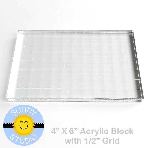 "Sunny Studio Stamps 4"" x 6"" Rectangle Acrylic Block with Etched Grid Lines for Clear Photopolymer Stamping"