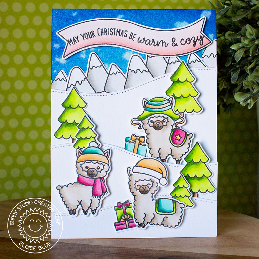 Sunny Studio Stamps Alpaca Holiday Snowy Hills Card by Eloise Blue.