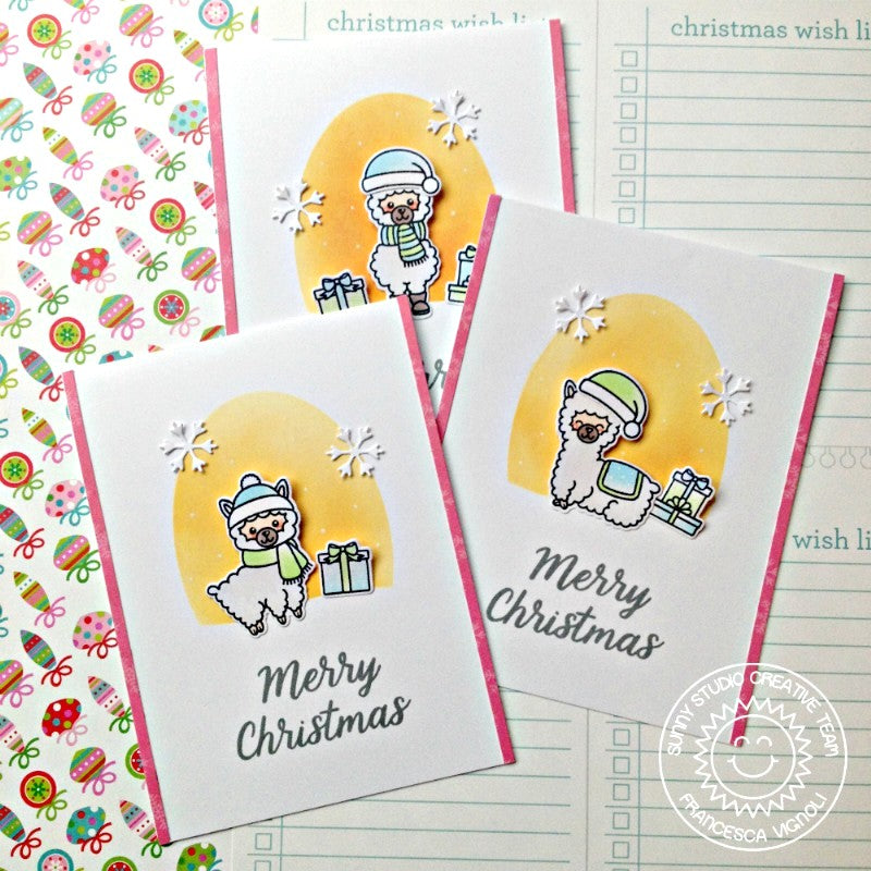 Sunny Studio Stamps Alpaca Holiday Christmas Cards by Franci