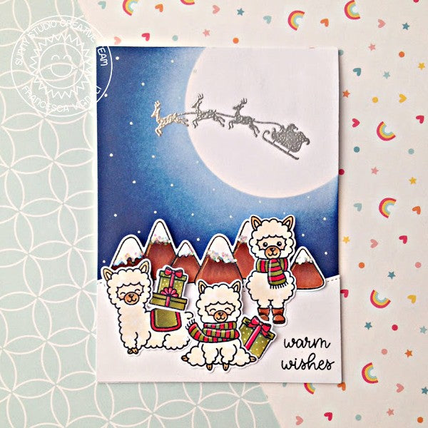 Sunny Studio Stamps Here Comes Santa Large Moon with Reindeer & Sleigh Silhouette Card