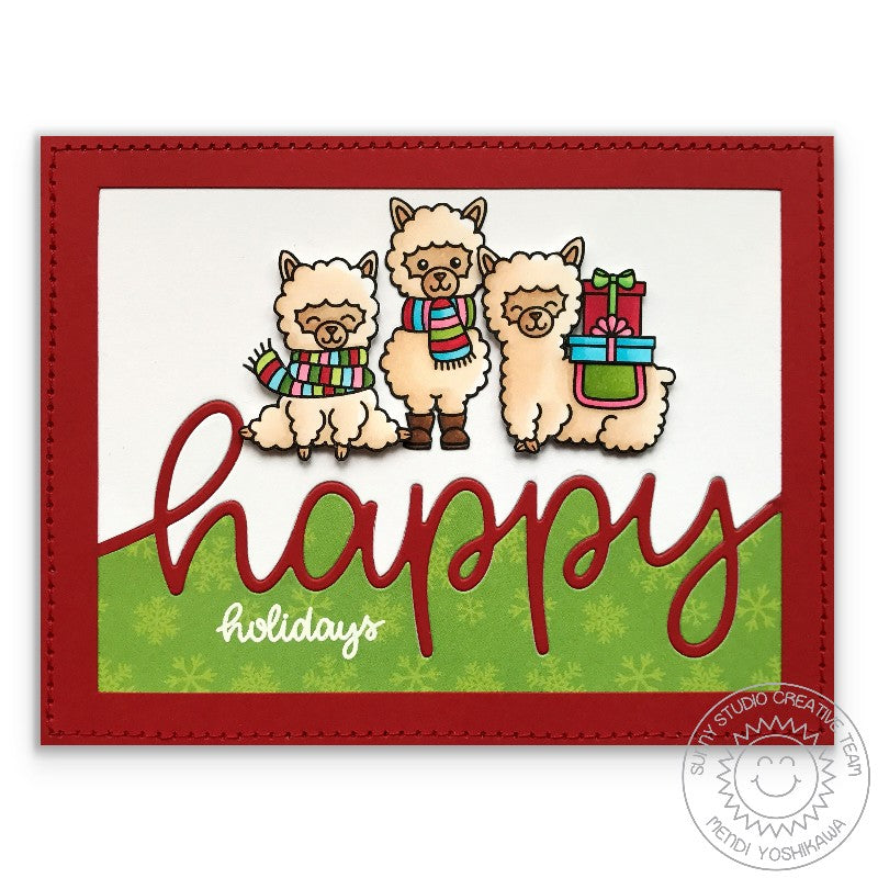 Sunny Studio Stamp Alpaca Holiday Happy Holidays Red & Green Christmas Card