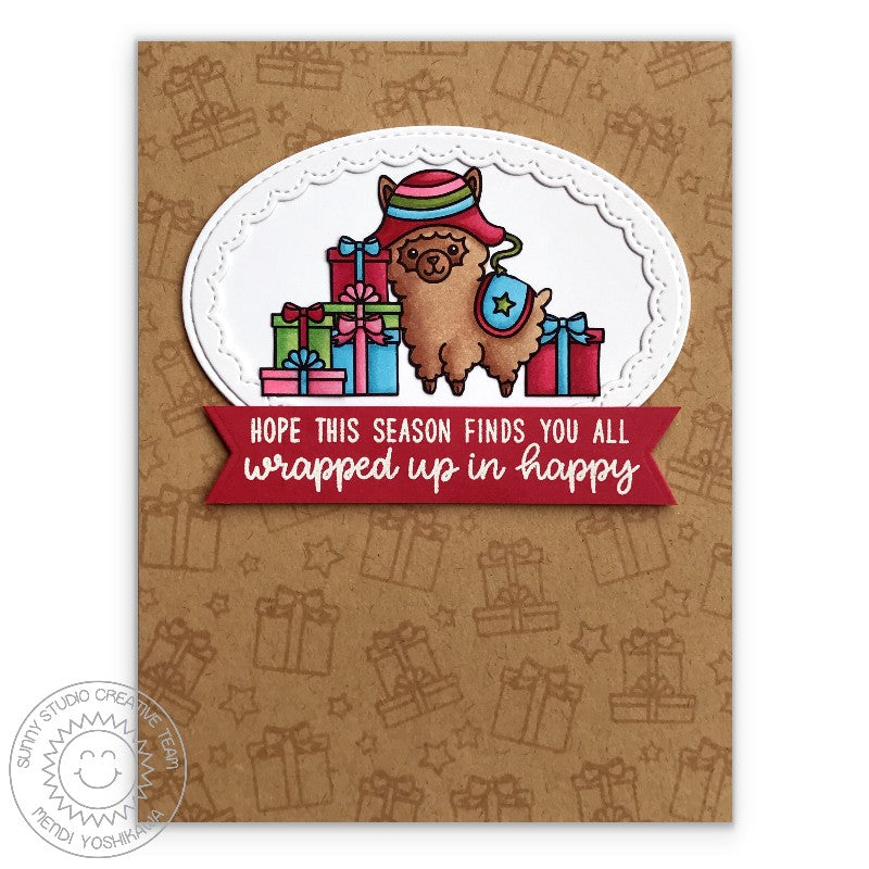 Sunny Studio Stamp Alpaca Holiday Gift Print Kraft Christmas Card