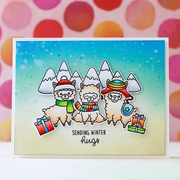Sunny Studio Stamps Alpaca Holiday Rainbow  Christmas Card by Laura Bassen