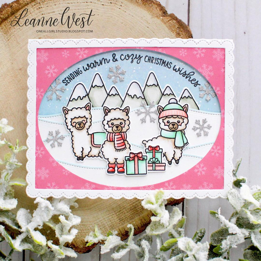 Sunny Studio Stamps Alpaca Christmas Card using Stitched Oval Dies