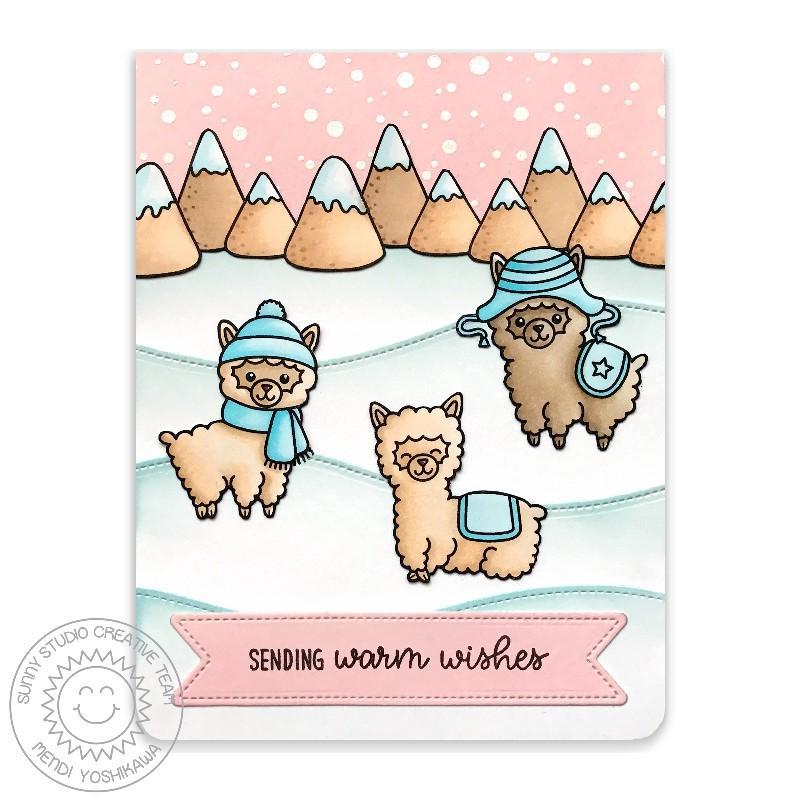 Sunny Studio Stamp Alpaca Holiday Pink & Aqua Snowy Winter Card
