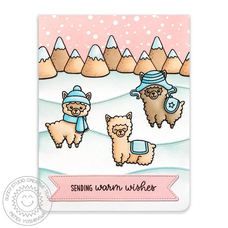 Sunny Studio Stamps Pale Pink, Aqua and White Alpaca Handmade Holiday Christmas Card by Mendi (using stitched Woodland Hillside Border Dies)