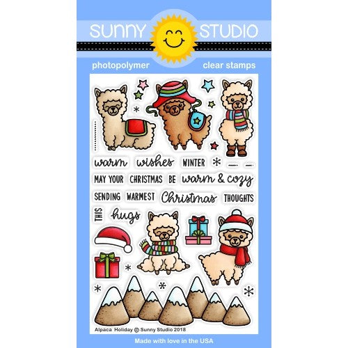 Sunny Studio Stamps Alpaca Holiday 4x6 Clear Photopolymer Stamps