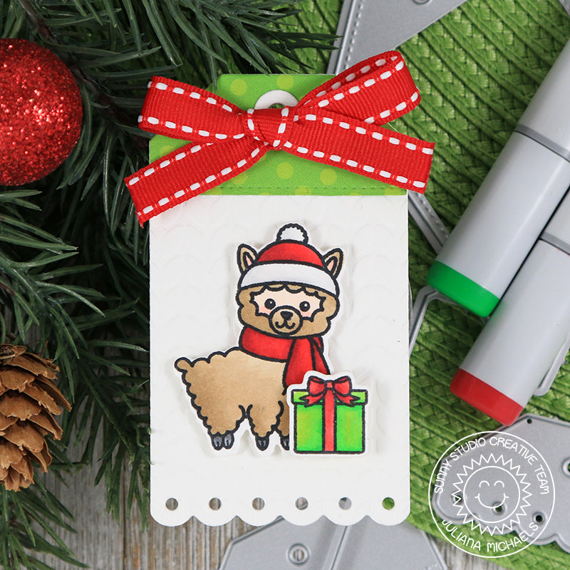 Sunny Studio Stamps Red & Green Alpaca Christmas Gift Tag (using Build-A-Tag #2 dies)