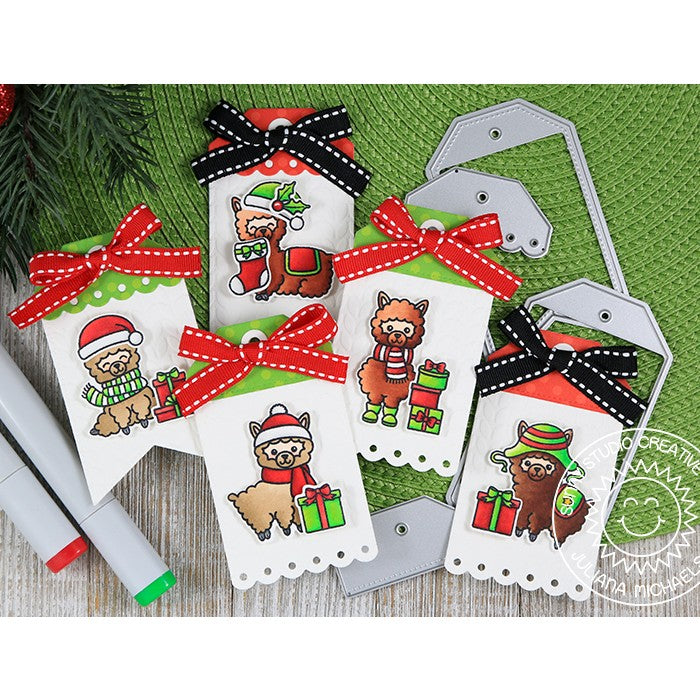 Sunny Studio Stamps Build-A-Tag #2 Alpaca Christmas Gift Tags by Juliana Michaels
