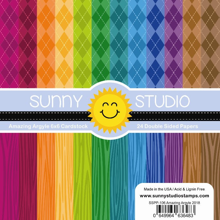 Sunny Studio Stamps Amazing Argyle & Jewel Tones Woodgrain 6x6 Patterned Paper Pack