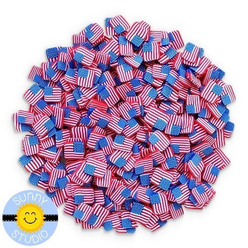 Sunny Studio Stamps Mini Red, White & Blue Stars & Stripes American Flag Clay Confetti Sprinkles Embellishments for Shaker Cards