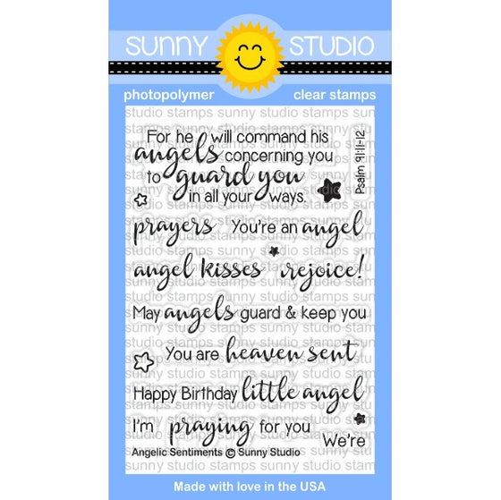 Sunny Studio Stamps Angelic Sentiments 3x4 Photo-Polymer Clear Stamp Set